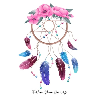 Illustration mignonne de dreamcatcher boho aquarelle