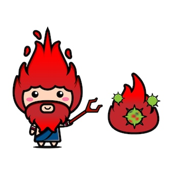 Illustration mignonne du personnage d'hadès combattant le virus