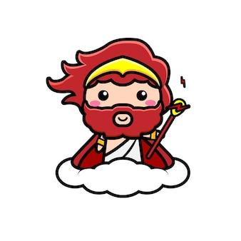 Illustration mignonne du personnage de zeus chevauchant un nuage