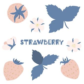 Illustration mignonne d'été ensemble de fleurs et de feuilles de fraises dans le style scandinave