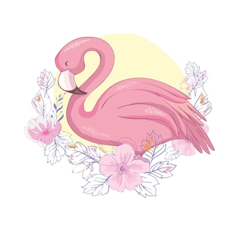 Illustration mignonne de flamant rose
