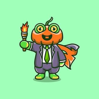 Illustration mignonne de grenouille de tête de citrouille d'halloween portant une torche