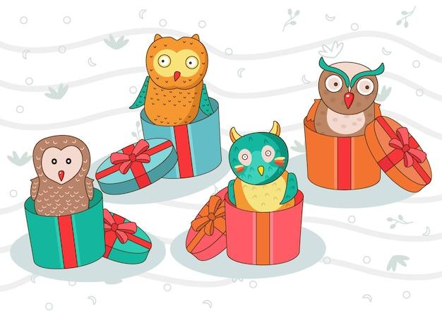 Illustration mignonne de hibou dans la boîte-cadeau