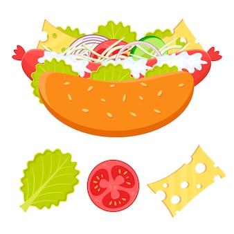 Illustration mignonne de hot-dog et d'ingrédients concept de restauration rapide hotdog avec saucisses et légumes