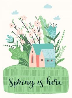 Illustration mignonne avec landckape de printemps.