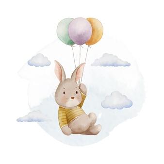 Illustration mignonne de lapin et de ballon aquarelle