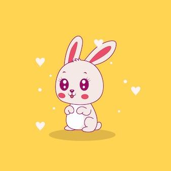 Illustration mignonne de lapin heureux