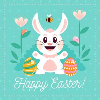 Illustration mignonne de lapin de pâques avec lettrage