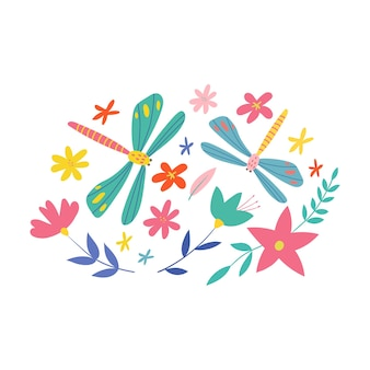 Illustration mignonne avec des libellules et des fleurs illustration vectorielle isolée sur fond blanc