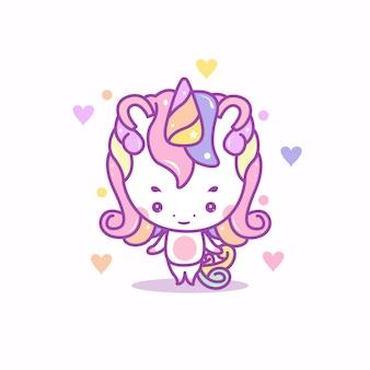 Illustration mignonne de licorne heureuse
