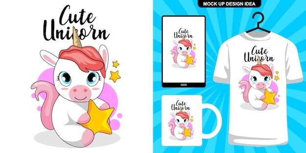 Illustration mignonne de licorne et merchandising