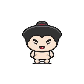 Illustration mignonne de mascotte de sumo