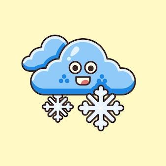 Illustration mignonne de nuage et de flocon de neige