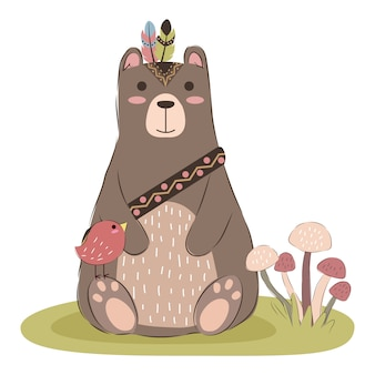Illustration mignonne ours tribal