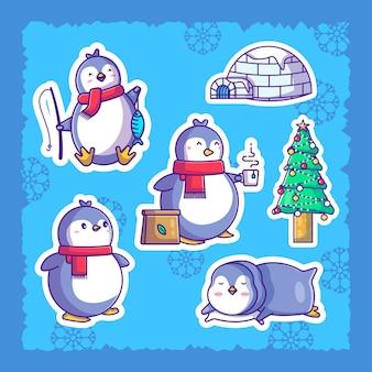 Illustration mignonne de pack d'autocollants de pingouin de noël