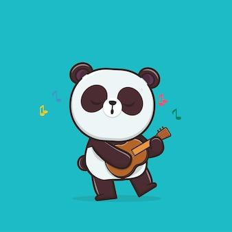 Illustration mignonne panda jouant de la guitare