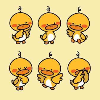 Illustration mignonne de petit canard timide