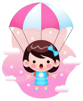 Illustration mignonne petite fille volant avec parachute