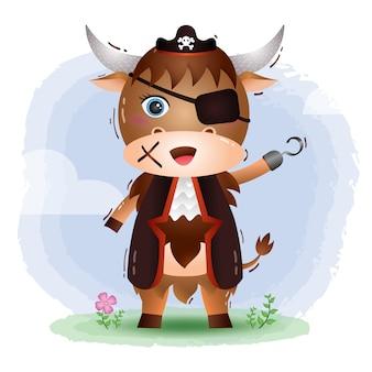 Illustration mignonne de pirates yak