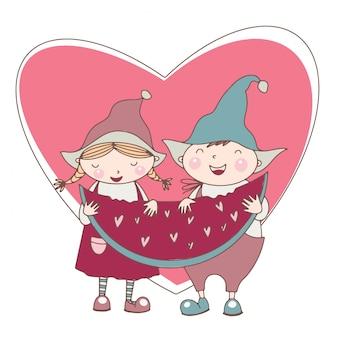 Illustration mignonne de la saint-valentin de couple drôle avec pastèque