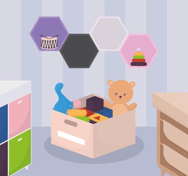 Illustration mignonne de salle de jeux