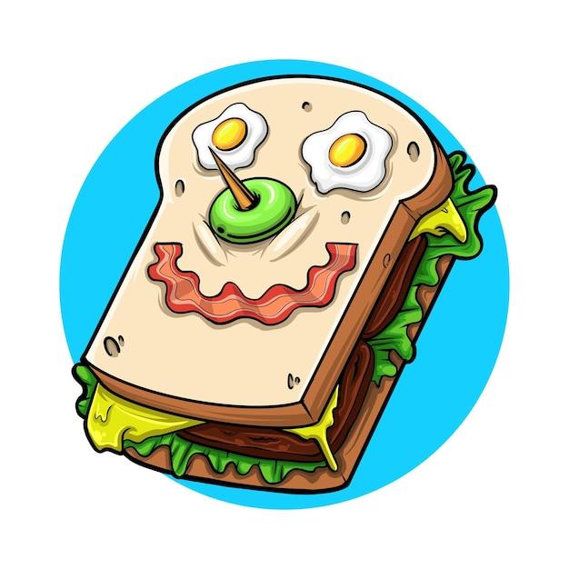 Illustration mignonne de sandwich qui accompagnera votre petit-déjeuner