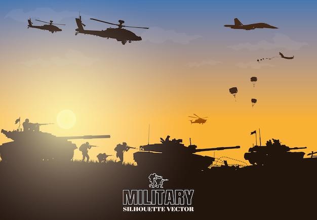 Illustration militaire, fond de l'armée, silhouettes de soldats.