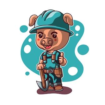 Illustration de mineur de cochon mascotte