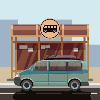 Illustration de minibus de style plat sur l'arrêt de bus