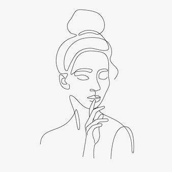 Illustration minimale de femme dessinée à la main. dessin de style sur une ligne.