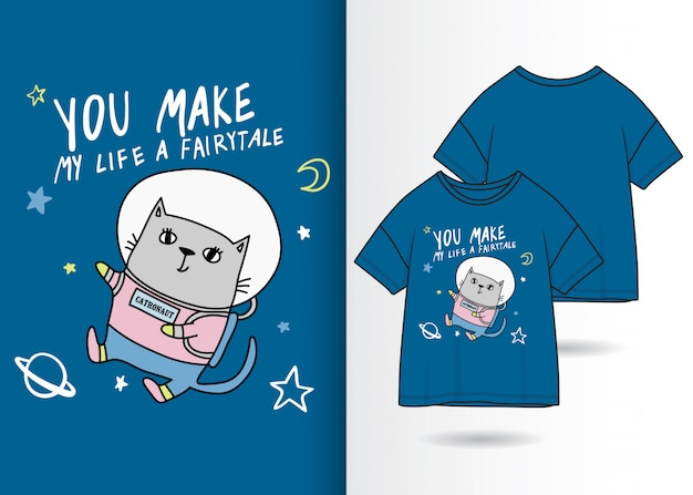 Illustration de minou mignon dessiné à la main avec la conception de t-shirt