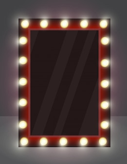 Illustration d'un miroir réaliste pour le maquillage avec des lampes d'éclairage.
