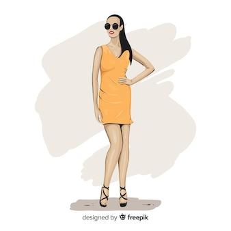 Illustration de mode avec modèle féminin