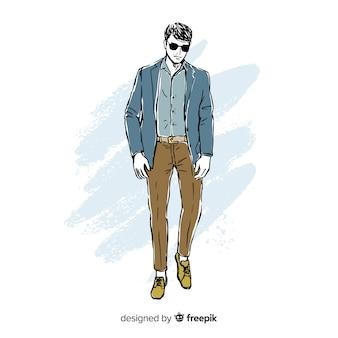 Illustration de mode avec modèle masculin