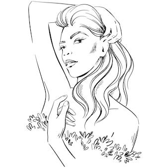 Illustration de mode. portrait de femme portant une robe élégante romantique