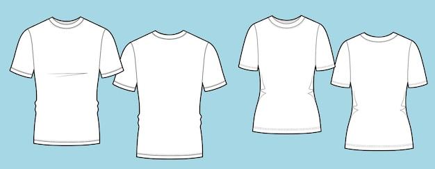 Illustration de mode technique de t-shirt pour femmes et hommes avec modèle de vêtements à col ras du cou à l'avant et à l'arrière avec ...