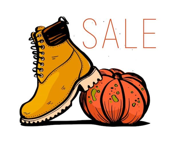 Illustration de mode tendance dessinés à la main avec le thème de la vente et des bottes automne / printemps et citrouille isolé