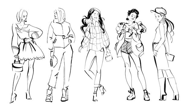 Illustration de mode vectorielle de modèles modernes de jeune fille dans la collection de tissu automne printemps isolée sur fond blanc. dame dessinée à la main dans le style de croquis. parfait pour les bannières, la publicité, les écorcheurs, etc.