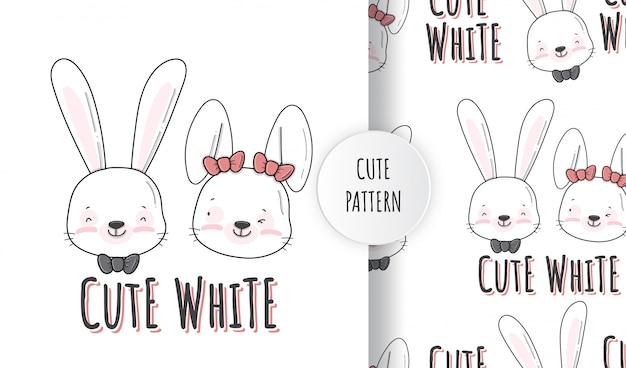 Illustration de modèle animal plat mignon petit lapin