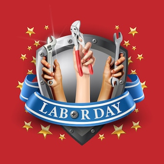 Illustration modèle de bannière de la fête du travail. emblème de l'élément sur fond rouge avec des étoiles.mains tenant des instruments comme une vis ou une clé.