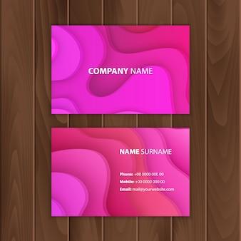 Illustration modèle de bon cadeau ou cartes de visite papier découpé design de motif moderne de couleur rose