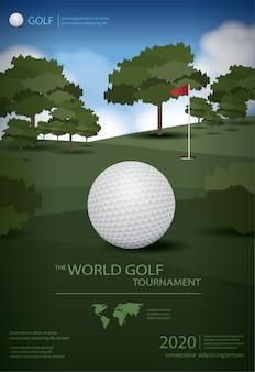 Illustration de modèle de champion de golf affiche