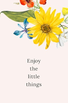 Illustration de modèle de citation florale vintage avec le texte des petites choses, remixé à partir d'œuvres d'art du domaine public
