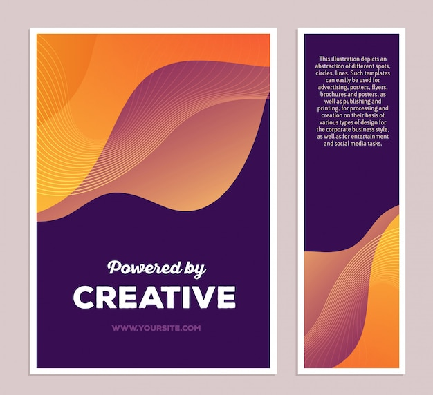 Illustration de modèle de composition abstraite colorée jaune avec texte sur fond sombre, deux formats. propulsé par un concept créatif.