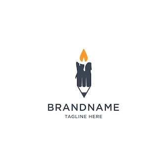 Illustration de modèle de conception de logo de crayon et bougie