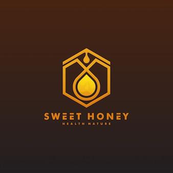 Illustration de modèle de conception de logo de miel