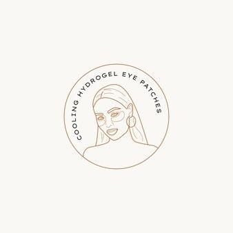Illustration de modèle de conception de logo vectoriel beauté dessin au trait dessinés à la main de signes et badges élégants