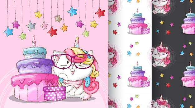 Illustration de modèle de fête d'anniversaire mignon caticorn