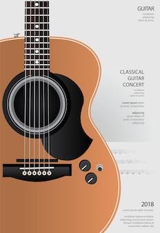 Illustration de modèle de fond affiche de concert de guitare