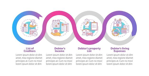 Illustration de modèle infographique de contrat créancier et débiteur